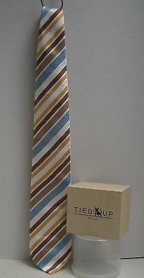Very Smart TIED UP Tie, Blue and Brown Stripe, 100% Silk Hand Made.