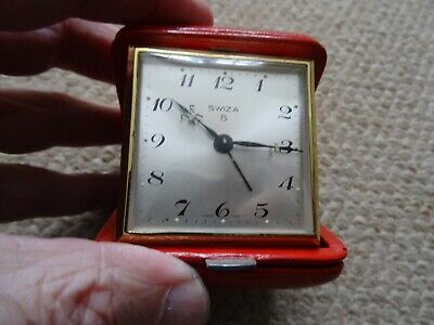 Vintage Swiza 8 Day Travel Alarm Clock, Working, Red Leather Case Excellent