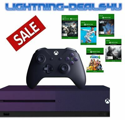 SALE New Microsoft Xbox One S 1TB Special Edition Purple Console Bundle 5 Games!