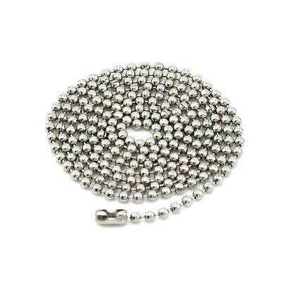 100pcs Solid Stainless Steel Silver Beads Chain Necklaces Jewelry Accessories