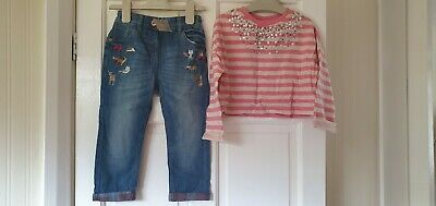 BNWT Girls Next Diamonte crop Top & Animal Jeans Outfit 2-3 Years 3 yrs