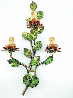 Applique 3 Lights Wrought Iron Colorful with Flowers and Petals of Pink Wild