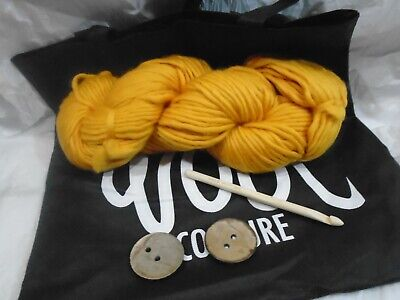 Wool Couture Amy Slippers crochet kit. Mustard colour. Complete kit in bag.