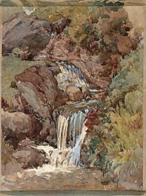 JOHN GLYNN Small Antique Watercolour Painting WATERFALL c1930