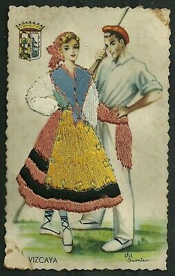 Postcard : Spain Espagne, embroidered 'silk' card, dancers with Vizcaya Costume
