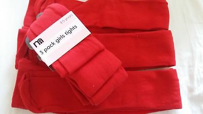 X3 Mothercare Girls Red Tights 4-5 Years Brand NEw