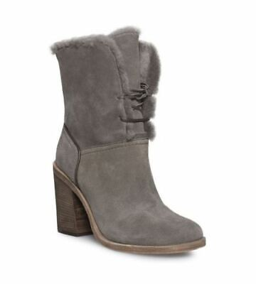 ceaeed96e0b UGG JERENE MOUSE Gray Stacked Heel Lace-Up Shearling Cuff Boots ...