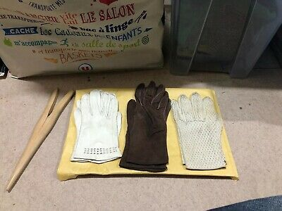 3 x Pairs Of Vintage Gloves Plus Glove Stretcher - Leather/Suede