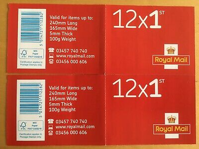 24 Royal Mail 1st Class Stamps. 2 x Booklets of 12. Free First Class Delivery.