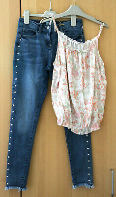 Next Girls Skinny Fit Jeans & Strappy Top Age 14 Years BNWT