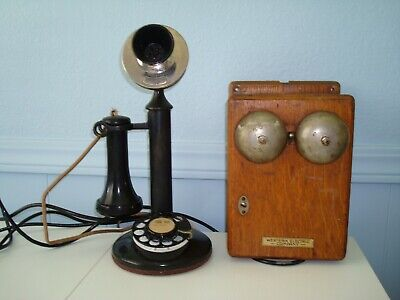 "12"" Candle Stick Rotary Telephone With Ringer Bell Box Western Electric Co Nice"