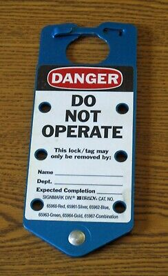 Brady 65962 blue Danger Do Not Operate aluminum hasp style lockout tag