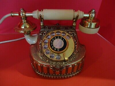 Vintage Princess Rotary Telephone, Brass Cream Accents, Coquette Phone - WORKS