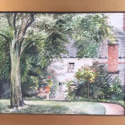 Antique Country Cottage Watercolour Painting 19th - 20th C