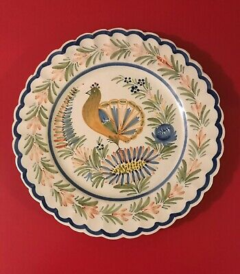"""HENRIOT QUIMPER FRENCH PEACOCK 10"""" PLATE  Vintage"""