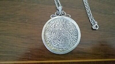 Treasure From Hollandia Shipwreck 1743 ~ 8 Reales Silver Coin in mount & Chain