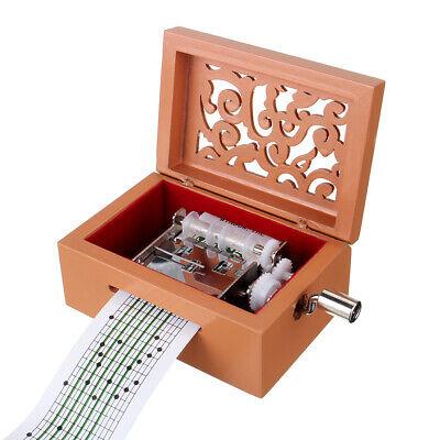 15 Tone DIY Hand Cranked Carved Music Box With Hole Puncher 30 Pcs Paper Tapes