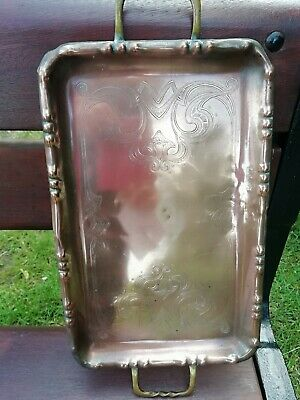 Antique Copper Arts & Crafts Engraved Drinks Tray Brass Handles Circa 1900