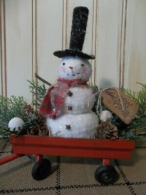 CHRISTMAS IN JULY - Small Sweet Primitive Handmade Snowman Decoration