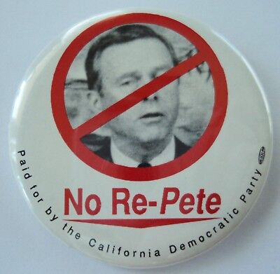 No Re-Pete Pin Button Pinback Pete Wilson California Democratic Party 2.25""