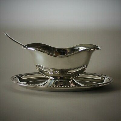 "Vintage Christofle France Silver Plated ""Perles"" Oval Sauce Boat"