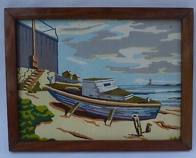 """Vintage Paint by Number """"Beached"""" Boat Scene Framed"""