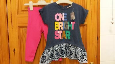 """BNWT Next Baby Girls """"ONE BRIGHT STAR"""" Tops and leggings set 12-18 months"""