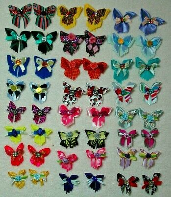 Pet Dog Grooming Bows Everyday 48 Pieces Asst. Sizes Lot# Ed -64 Handmade Usa