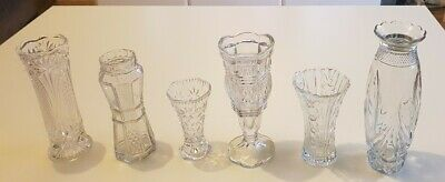 6 Vintage Cut Glass Medium Vases Posy Flower Bud Wedding Florist Job Lot