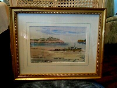Original Watercolor Of Lighthouse On Island Galway Bay, S. Ireland By Sykes