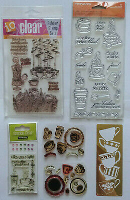 LOT of Clear Acrylic Stamp sets COFFEE themed