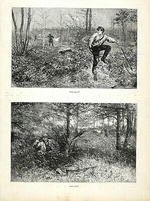Firearms Accident, Pair of 1880s Antique Prints Showing Men Shot by Hunters