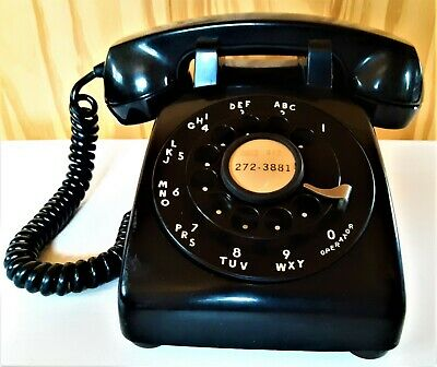 Western Electric Bell System Soft Plastic 500 Rotary Dial Black Telephone 1954