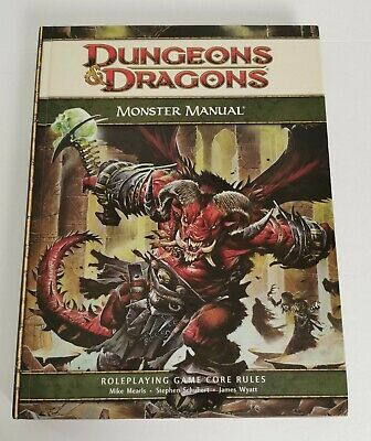 Monster Manual Dungeons and Dragons 4th Edition Core Game Rules Roleplaying HC