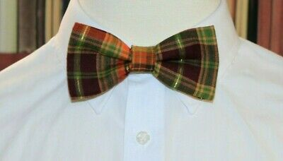 Fall Plaid Clip-On Cotton Bow Tie Choose Men/'s or Boys New Thanksgiving