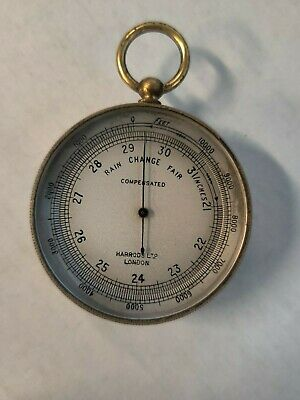 Rare Antique Harrods London Pocket Barometer With Compass On The Case Back
