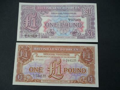 British Military Armed Forces Uncirculated Banknotes Vouchers Two £1 Notes