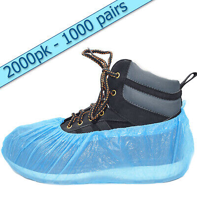 2,000 Value Blue Disposable Overshoes Shoe Covers (1,000 Pairs) Embossed