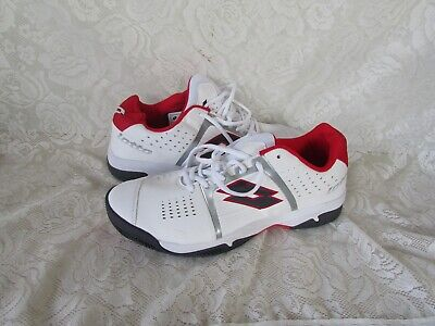 Mens LOTTO size USA 12 White Leather Lace up Runners