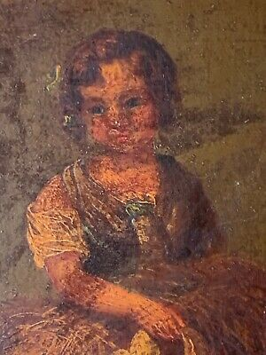 18thc Oil Painting - Girl Gathering Wood In Landscape - British ??