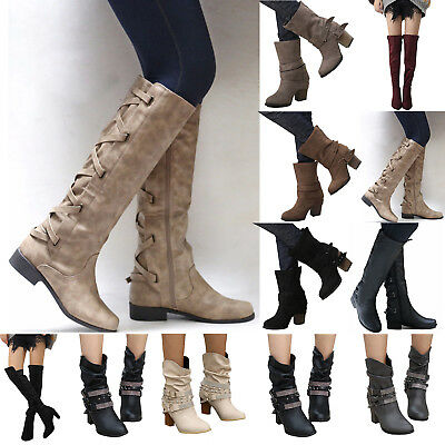 Women Winter Lace Up Leather High Boots Warmer Flat Low Heels Block Zip Shoes