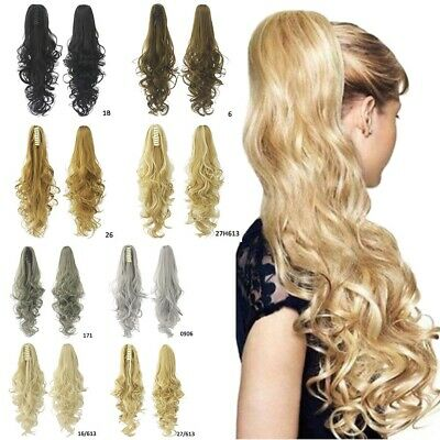 Women Synthetic Claw Clip Ponytail Extension Straight Wavy Pony Tail Hair Piece