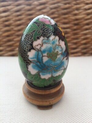 Chinese Cloisonne Egg & Stand