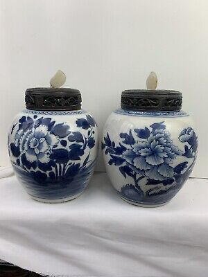 two antique chinese blue and white jar with wooden and natural jade cover
