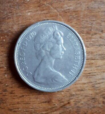Old 5 Pence Coin UK Large Type Decimal Large 5p Five 1970