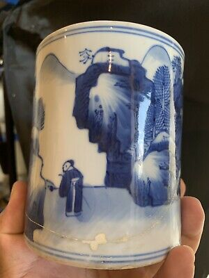 18th C antique chinese blue and white brush pot kangxi period