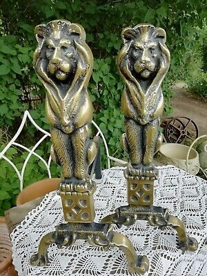 Large Antique Edwardian Lions Brass And Iron Fire Side Andirons Dogs 10 Kilo's