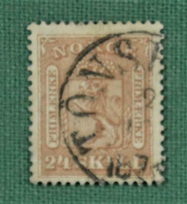 NORWAY STAMP 1868 24s BROWN SG 18 USED (R102)