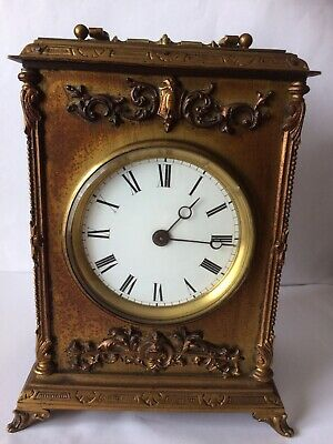 Quality French 8 Day Heavy Steel Mantle Clock With Gilded Finish Working E.G.L.