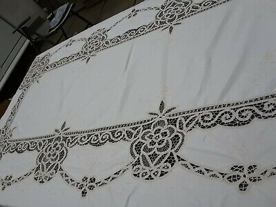 Superb Vintage Cream Linen Madeira Work Hand Embroidered Large Oblong Tablecloth